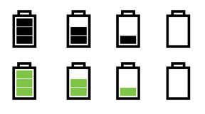 Battery status. A set of battery in various status Stock Images
