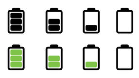 Battery status set. A set of battery in various status Stock Image