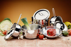Battery steel Pots with Ingredients royalty free stock photos