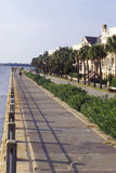 Battery Street and walkway on the waterfront in Charleston, SC Stock Photo