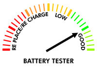 Battery testing instrument. To test the level of the battery Stock Illustration