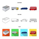 Battery and transport cartoon,outline,flat icons in set collection for design.Car maintenance station vector symbol. Stock illustration Stock Image