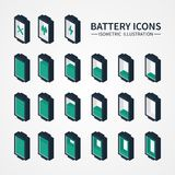 Battery web icons, symbol, sign and design Stock Photography