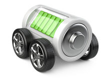 Battery  on wheels with charge level. Stock Photo