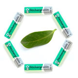 Battery. On white background with triangle Stock Photography