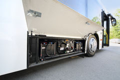 Battery of white city bus Royalty Free Stock Photography