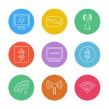 Battery , wifi , network , infrared , signals , web , user inter. Face , usb , battery cells , mobile , uploading , downloading , internet , icon, vector, design royalty free illustration