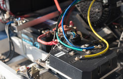Battery wiring of a car Royalty Free Stock Photos