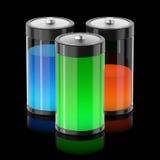 Batterys die met verschillende types van energie wordt gevuld Stock Afbeelding