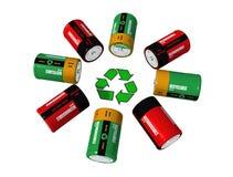 Batterys e simbolo ricaricabili di riciclaggio Fotografia Stock