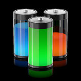 Batterys filled with different types of energy Stock Image