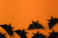 Battes d'origami pour Halloween Photo stock