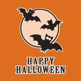 Battes de bande dessinée d'amusement et pleine lune, carte heureuse de Halloween, illustration de couleur deux Images libres de droits