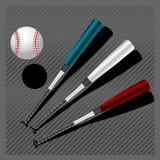 Battes de baseball et bille Photo stock