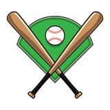 Battes de baseball et boule illustration de vecteur