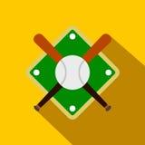 Battes de baseball et boule sur l'icône de terrain de base-ball Photo libre de droits