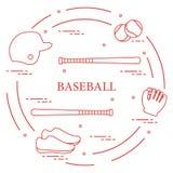 Battes de baseball, gant, boules, casque, chaussures Photos stock