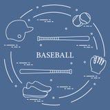 Battes de baseball, gant, boules, casque, chaussures Photos libres de droits