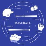 Battes de baseball, gant, boules, casque, chaussures Image stock