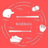 Battes de baseball, gant, boules, casque, chaussures Image libre de droits