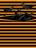 Battes effrayantes de fond de Halloween de vecteur oranges Photo stock