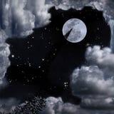 Battes et beau ciel de pleine lune Photos libres de droits