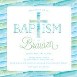 Battesimo, battezzante il modello dell'invito - incrocio dell'acquerello, fondo Fotografia Stock Libera da Diritti