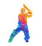 Batteur abstrait jouant le cricket illustration libre de droits