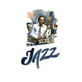 Batteur d'aquarelle de jazz-band Personnes créatives Photographie stock libre de droits