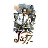 Batteur d'aquarelle de jazz-band Personnes créatives Images stock