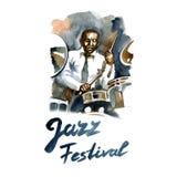 Batteur d'aquarelle de jazz-band Personnes créatives Photo stock