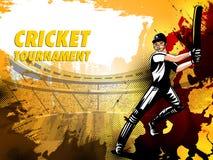 Batteur de joueur à l'arrière-plan de tournoi de championnat de cricket illustration libre de droits