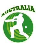 Batteur de joueur de cricket maniant la batte la rétro Australie illustration stock