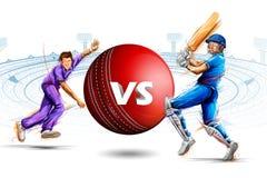 Batteur et lanceur jouant des sports de championnat de cricket illustration libre de droits
