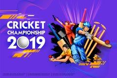 Batteur et lanceur jouant les sports 2019 de championnat de cricket illustration stock