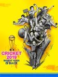 Batteur et lanceur jouant les sports 2019 de championnat de cricket illustration de vecteur