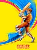 Batteur jouant des sports de championnat de cricket illustration libre de droits