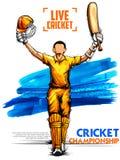 Batteur jouant des sports de championnat de cricket illustration de vecteur