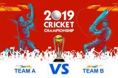 Batteur jouant le jeu des sports 2019 de championnat de cricket illustration libre de droits