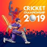 Batteur jouant les sports 2019 de championnat de cricket illustration de vecteur