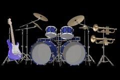 Battez du tambour de la guitare et de la trompette de kit d'isolement sur un noir Images stock