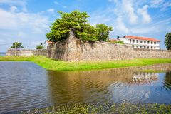 Batticaloa Fort, Sri Lanka. The Batticaloa Fort is the old portuguese fort in the center of Batticaloa city, Sri Lanka stock images