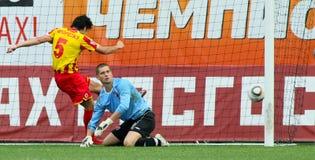 Battimenti Alania (Vladikavkaz) di Dinamo (Mosca) - (2: 0) immagine stock libera da diritti