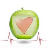 Battimento di cuore con la mela verde Immagini Stock