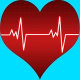 Battimento di cuore su figura del cuore Fotografia Stock