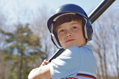 Batting Practice. Blue-Eyed Boy waiting to Bat Royalty Free Stock Images