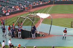 Batting practice. At Orioles Park at Camden Yards. This is used as warm up before a MLB game Royalty Free Stock Images