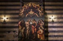 battistero二圣乔凡尼,锡耶纳,意大利的细节 库存图片