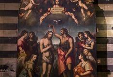 battistero二圣乔凡尼,锡耶纳,意大利的细节 库存照片