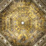 Battistero di San Giovanni or Baptistery of Saint John the Baptist, Mosaic-decorated dome interior in Florence, Italy Stock Photos